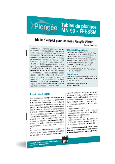 Tables De Plongee Mn90 Ffessm Mode D Emploi