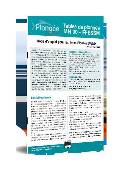 Plongée Plaisir Mode d'emploi tables MN90